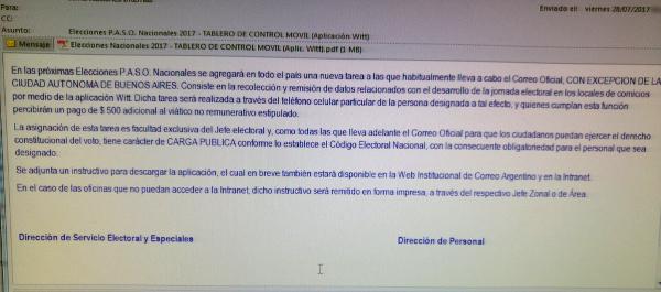Email a un empleado de Correo Argentino