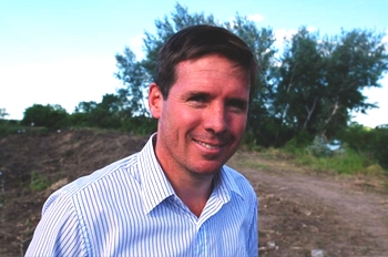 O'Reilly en Punta Querand�, a fines de 2008. Comenzaba a estallar el reclamo. (Ignacio Smith)