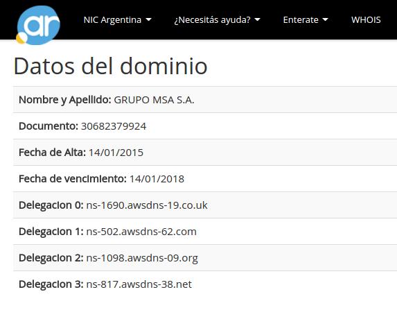 operaciones.com.ar en Nic.ar