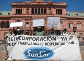 Obreros de SanCor en Buenos Aires