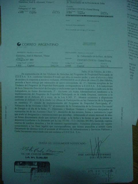 Carta documento del ...