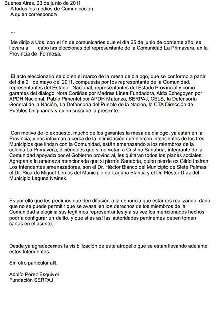 CARTA DE Adolfo Pére...