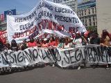 Marcha en Buenos Aires en repudio al asesinato de tres jóvenes del FPDS en Rosario