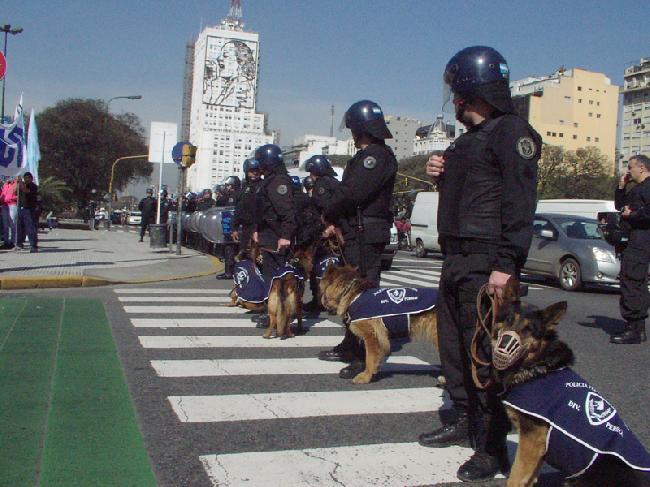 Policías rodean mani...