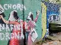 Manos an�nimas vandalizaron un mural de Madres en el ex Batall�n 121