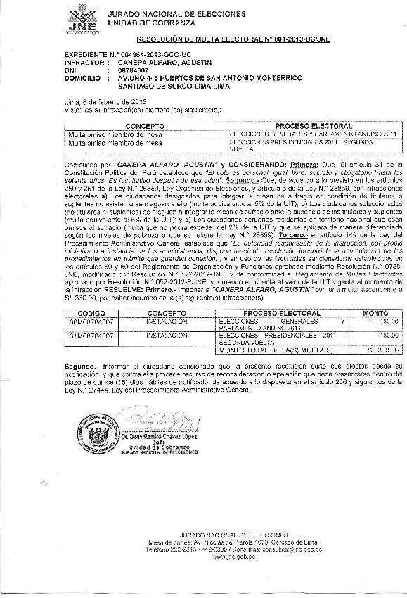 JNE: multas-asaltos ...