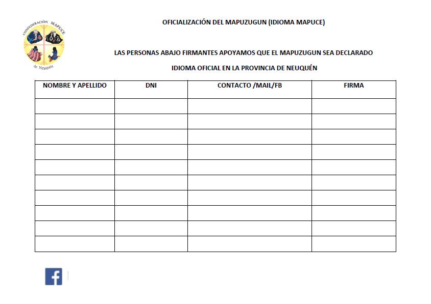 Planilla Para Juntar Firmas Por La Oficializaci N Del