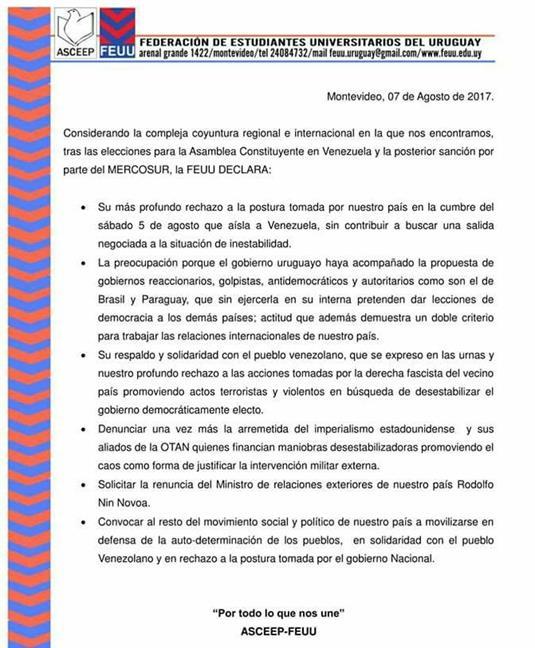 Declaración FEUU Uru...