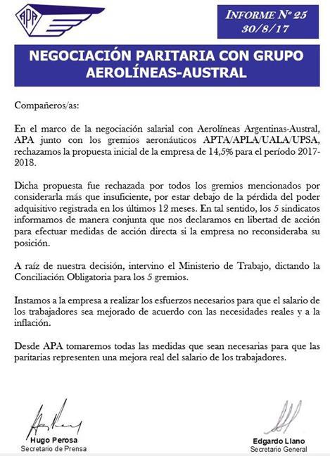 Aerolíneas ofreció 1...