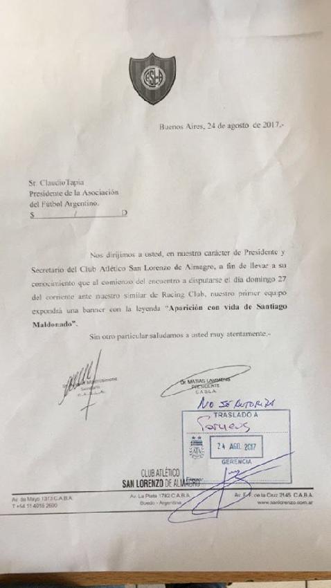 Carta San Lorenzo a ...