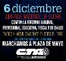 6 de diciembre: Jornada Nacional de Lucha contra las reformas neoliberales