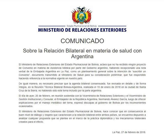 Bolivia aclara que n...