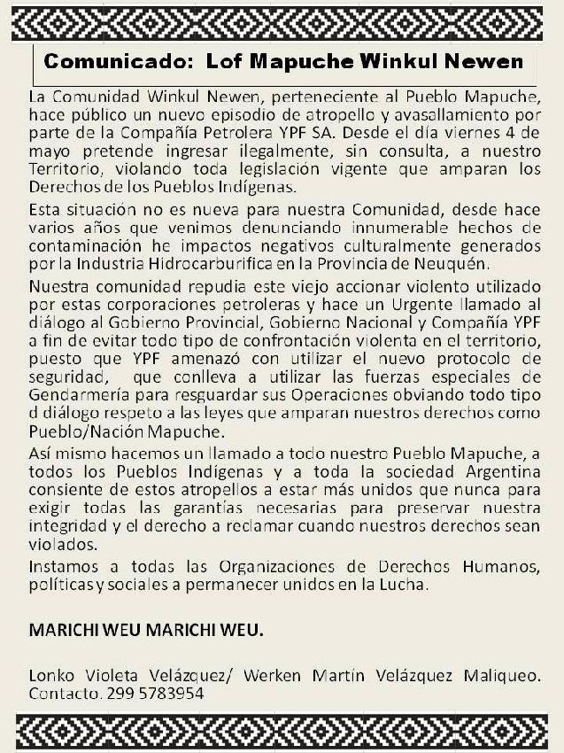 Comunicado: Lof Mapu...