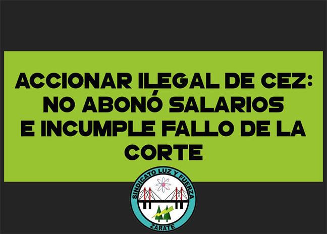 CEZ no pagó salarios...